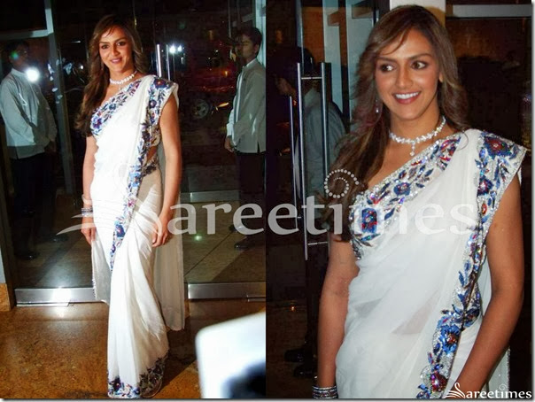 Esha_Deol_White_Saree