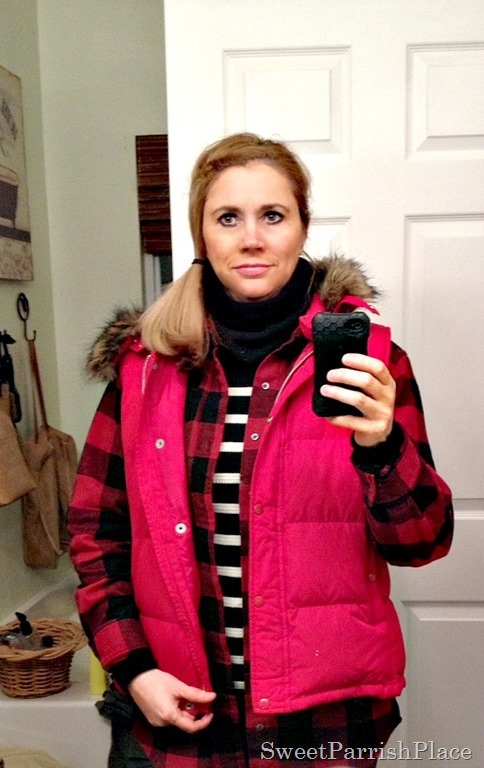 Buffalo plaid stripes and red vest3