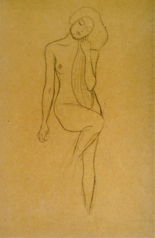 gustav-klimt-nudo-di-donna-in-piedi-con-la-gamba-destra-sollevata-1902-ca-gessetto-nero-collezione-privata