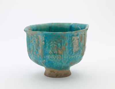 Bowl | Origin:  Iran | Period: 1169-1233  Saljuq period | Details:  Not Available | Type: Stone-paste painted under glaze | Size: H: 14.2  W: 19.1  cm | Museum Code: F1906.40 | Photograph and description taken from Freer and the Sackler (Smithsonian) Museums.