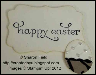 step 17 stamp and punch Easter Greeting, add tiny cloissonne egg