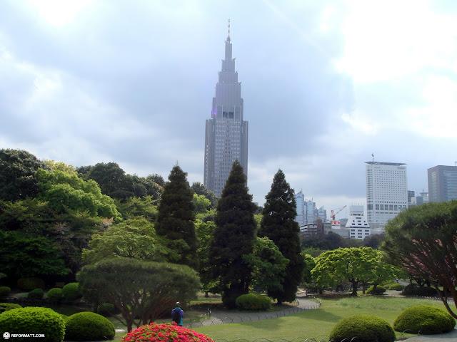 magnificent photo of docomo tower from Shinjuku Gyoen in Shinjuku, Tokyo, Japan