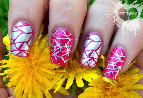 PinkAbstractNailArt1 Pink And Silver Nail Designs
