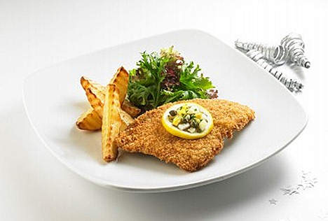 Swensens Fried Dutch Milk Fed Veal Cutlet roasted potato, mesclun salad, lemon butter lemon sauce.