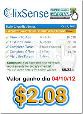 Ganhos Clixsense - Check List 04out12