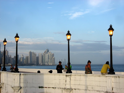 view from Casco Viejo over the modern center of Panama City and the Pacific Ocean