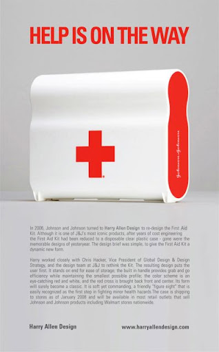 This is a Johnson and Johnson first-aid kit designed by Harry Allen Design.  The shape is great.  It's available for purchase at Target stores or target.com.