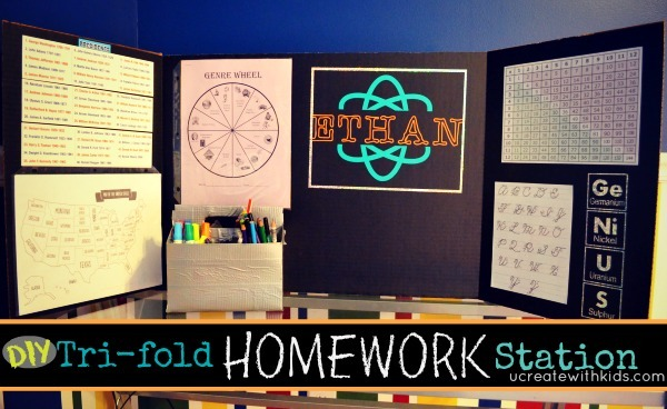 DIY Tri-fold Homework Station ucreatewithkids.com