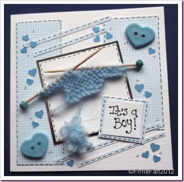 Baby Boy knitting Card