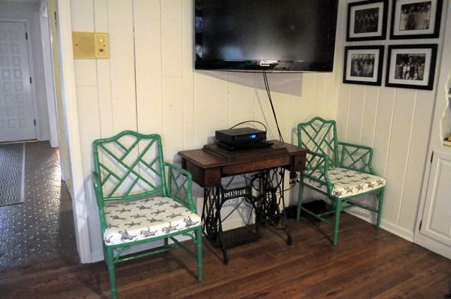green Chippendale chairs