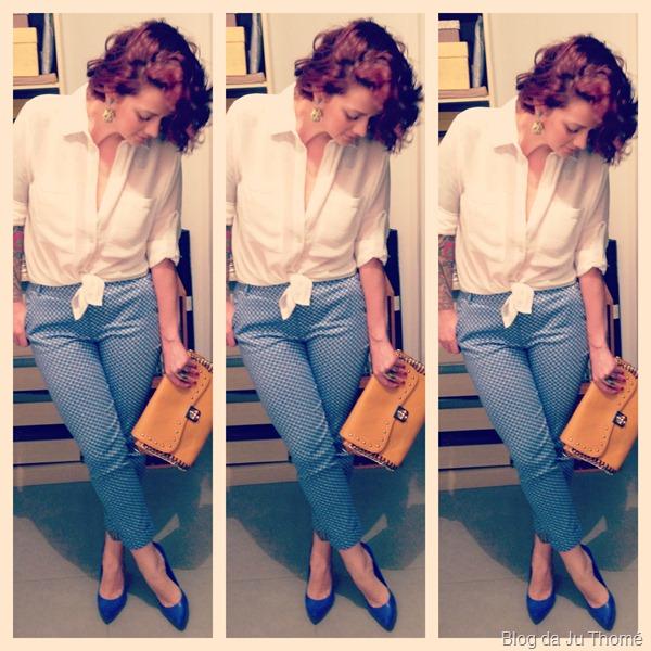 look calça estampada, camisa branca, bolsa amarela e sapato azul (3)