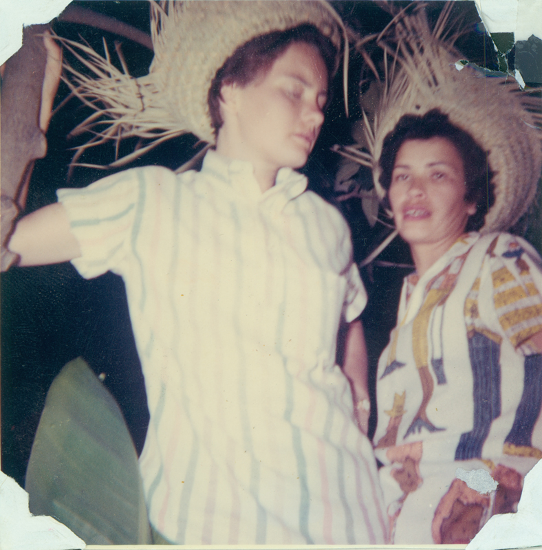 "Brenda Weathers and Anita Ornales at a beer garden in La Villita in San Antonio, TX. The album caption reads: ""In the German Beer Garden at La Villita, 'a night in old San Antonio.' Fiesta 1962."" 1962"