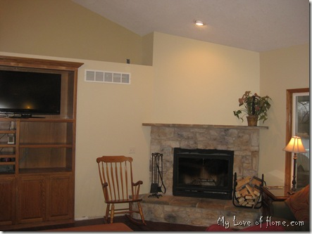 stone fireplace, butter walls