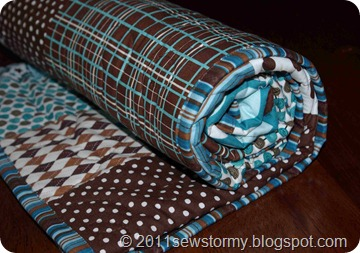 baby quilt rolled