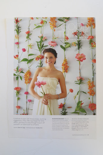 This summer 2011 Good Thing was the tearsheet for her photobooth wall. Instead of fresh blooms that would melt in the Bolivian heat, she created a wall with tissue paper blooms.