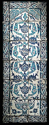 Tile from a Panel | Origin: Turkey, possibly Istanbul | Period:  second half 17th century | Collection: The Nasli M. Heeramaneck Collection, gift of Joan Palevsky (M.73.5.763) | Type: Ceramic; Architectural element, Fritware, underglaze painted, Overall panel: 61 1/4 x 22 3/4 in. (155.6 x 57.8 cm)