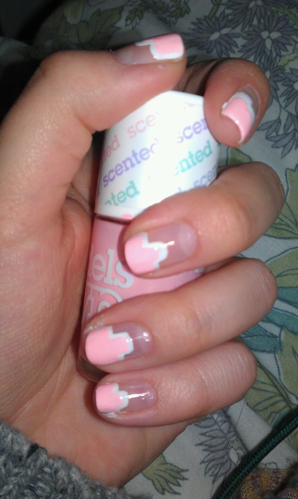 Stephanie Bowles: Prom Nails No.3 Pink and White French Twist