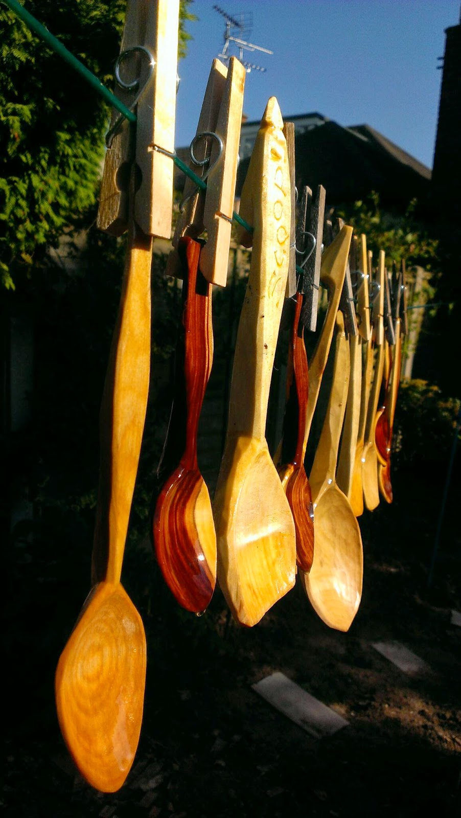 Tom bartlett hand carved spoons oiled and pegged out to