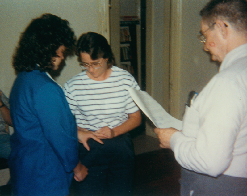 Edgar Sandifer presiding over a same-sex marriage. 1989.