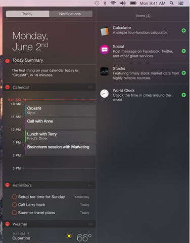 OS X Notification Center