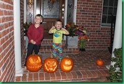 boys and pumpkins