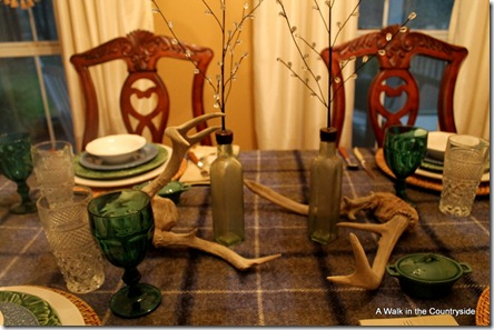 a walk in the countryside: winter table with plaid throw