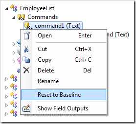 Resetting command text to the baseline for 'EmployeeList' controller.