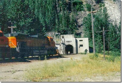 BNSF C44-9W #4699 entering the Cascade Tunnel at Berne, Washington in 2000