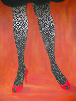 Disco Legs. Oil, glitter and glue on canvas. 30x40