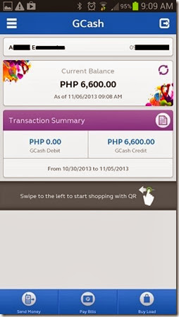 GCash for Android main screen