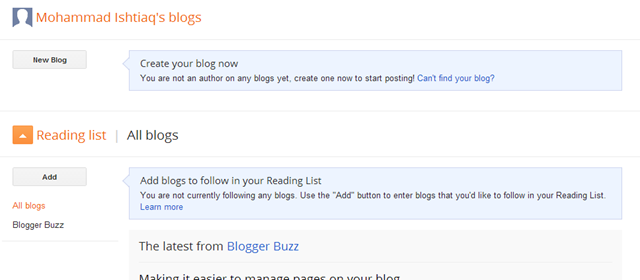 Create Your New Blogger Blog