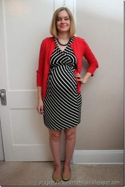 black and white striped dress, red cardigan