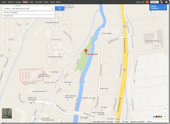 Google Maps - Ronald W. Last Park Provo Utah