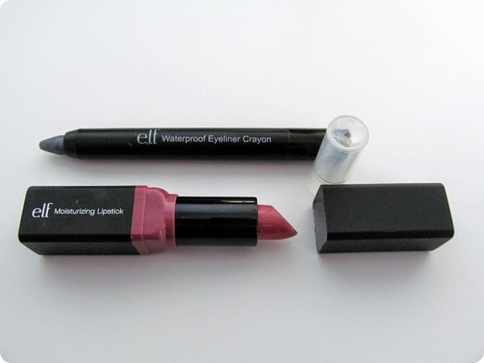 ELF Waterproof Eyeliner Crayon and Moisturizing Lipstick