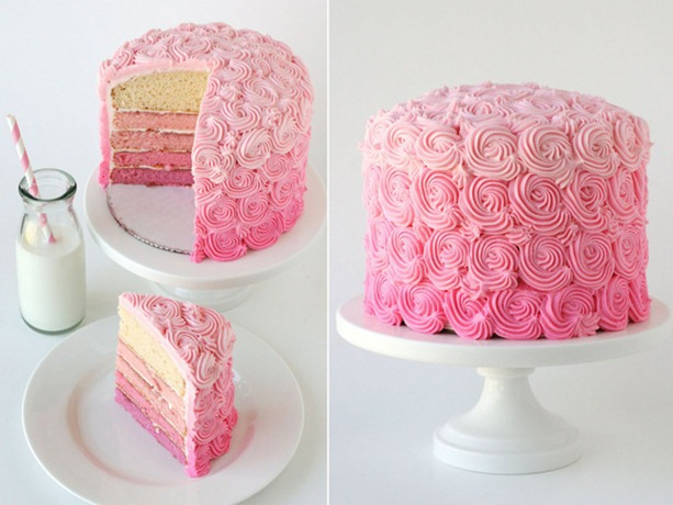 Pink Ombre cake-9