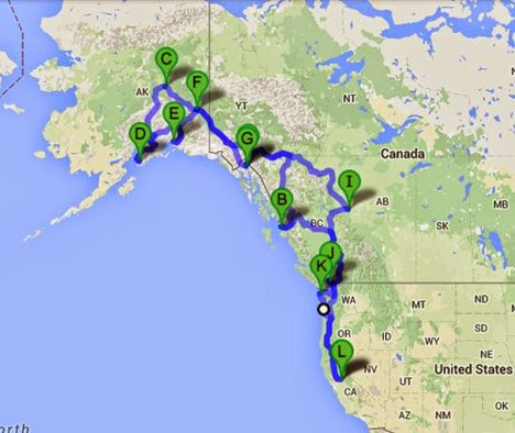 Map of 2015 Trip to Alaska