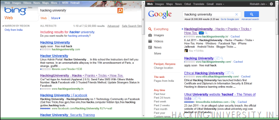 Compare Google & Bing Search Results