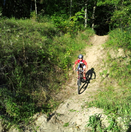 Riding the gravel pit on the new Twin Lakes singletrack