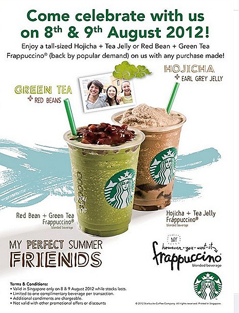 Starbucks FREE OFFER Green Tea Red Bean Frappuccino Hojicha Tea Jelly Earl Grey Singapore National Day Special with any purchase Summer treats drink teatime companion singapore stores