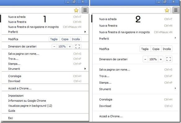 Chrome Nuovo e Vecchio stile dei menu contestuali