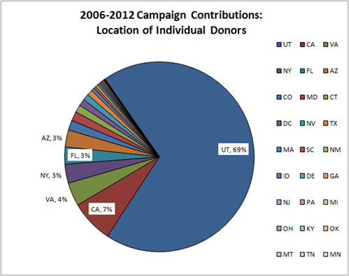 2006-2012 Campaign Contributions for Jason Chaffetz: Location of Individual Donors