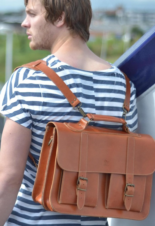 Tan Leather School Satchel, £160, Grafea
