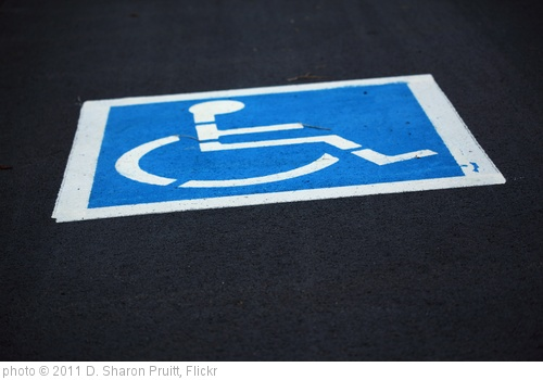 'Free Freshly Painted Handicap Wheelchair Parking Sign in Parking Lot Creative Commons' photo (c) 2011, D. Sharon Pruitt - license: http://creativecommons.org/licenses/by/2.0/