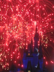 Disney trip red fireworks at castle