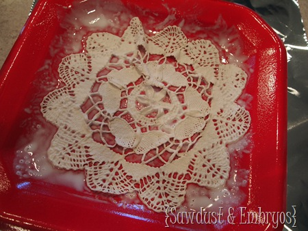 Doily Bowls using Fabric Stiffener