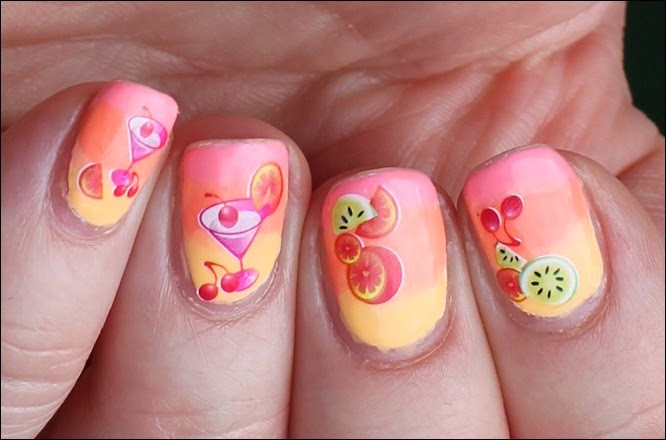 Tropical Island Cocktail Nail Art 2
