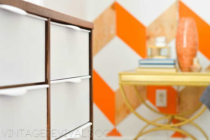 Mid Century Dresser Graphic Wall - Vintagerevivals.com DIY Home Decorating Blog