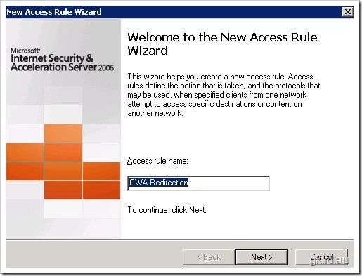 Outlook Web Access redirection via Microsoft ISA 2006 isa exchange 2007 exchange