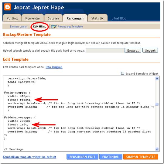 kode HTML sidebar disebelah kiri