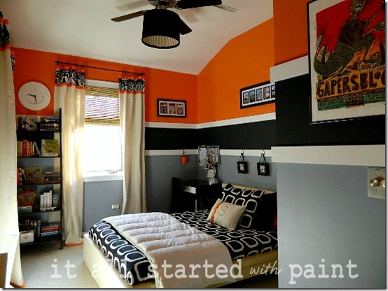 Teen Boy Room orange black white